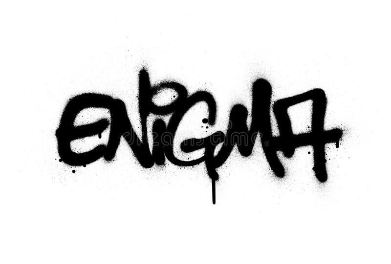 Graffiti enigma słowo spryskiwane na czarno na biało ilustracji