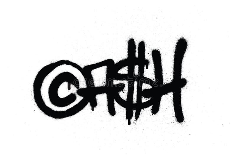 Graffiti etikettieren das Bargeld, das mit Leck im Schwarzen auf Weiß gespritzt wird stock abbildung