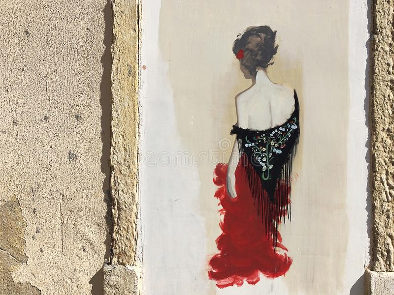 Graffiti fado kobieta w ulicach Lisbon fotografia royalty free