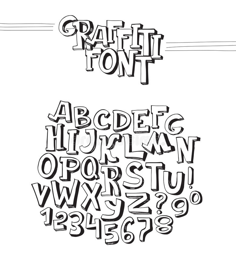 Download Graffiti Font. Abc Letters From A To Z And Numbers From 0 To 9