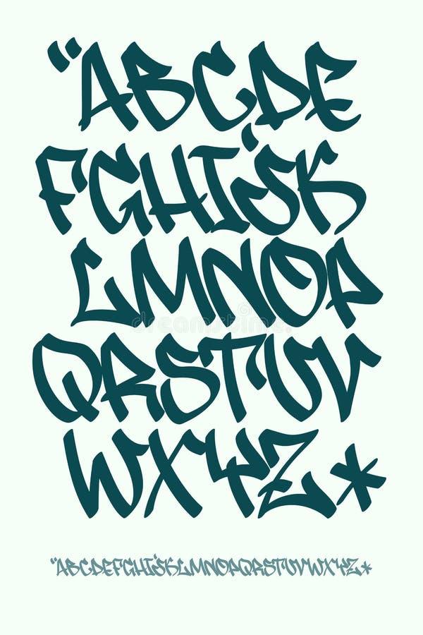 Graffiti font - Hand written - Vector alphabet. Vectorial font in graffiti hand written style. Capital letters alphabet vector illustration