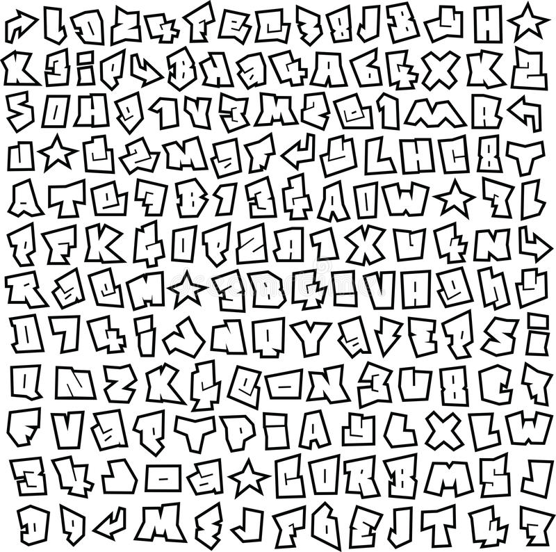 Download Graffiti Font And Number Alphabet Sketch Page Stock Vector