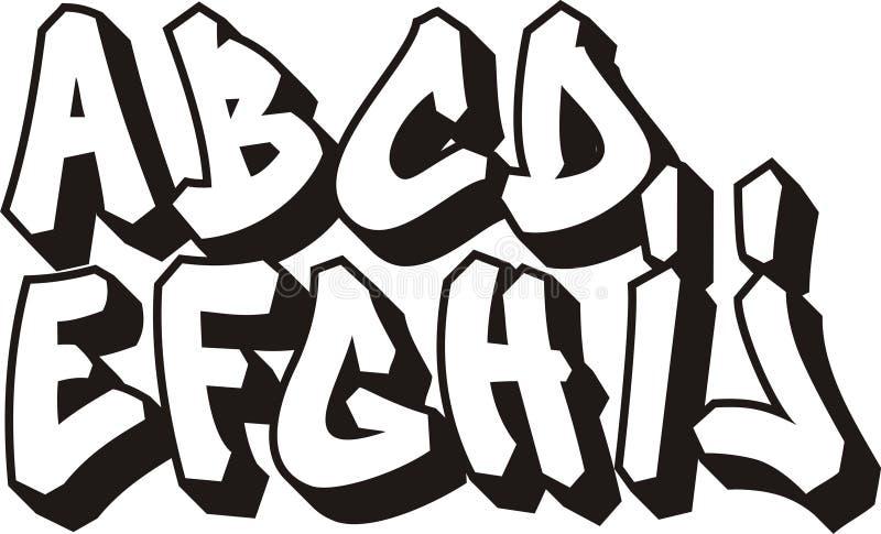 Graffiti font (part 1) stock illustration