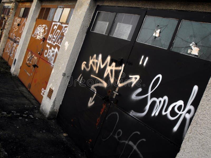 Graffiti garages royalty free stock photos
