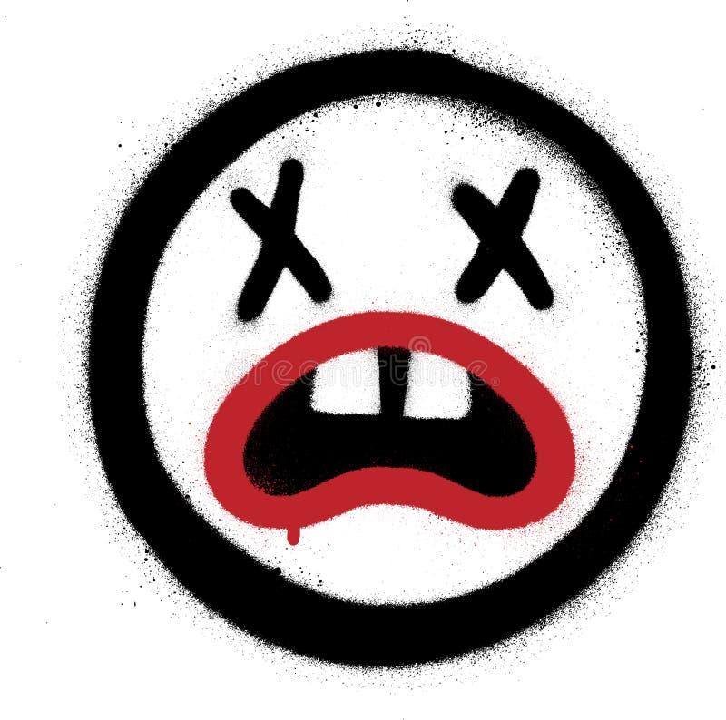 Graffiti Gekke die Emoticon over wit wordt bespoten royalty-vrije illustratie