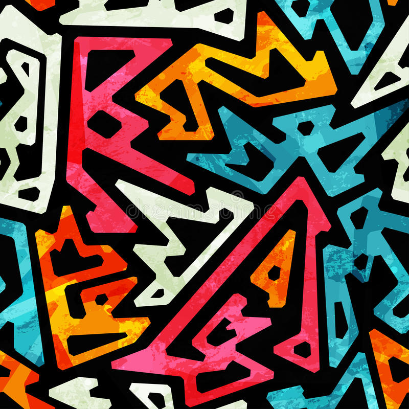 Graffiti Geometric Seamless Pattern Stock Vector