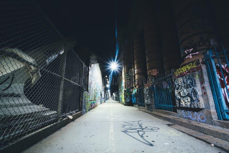 Graffiti gesehen auf dem Manhattan-Brücken-Gehweg, im niedrigeren Osten stockbild