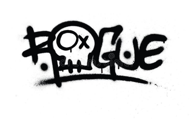 Graffiti gesprühtes Schurken- Tag im Schwarzen über Weiß stock abbildung