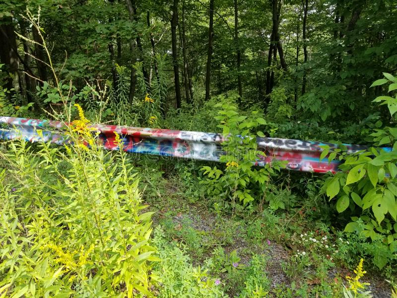 Graffiti Highway 3. Guardrail at the graffiti highway in Centralia royalty free stock photo