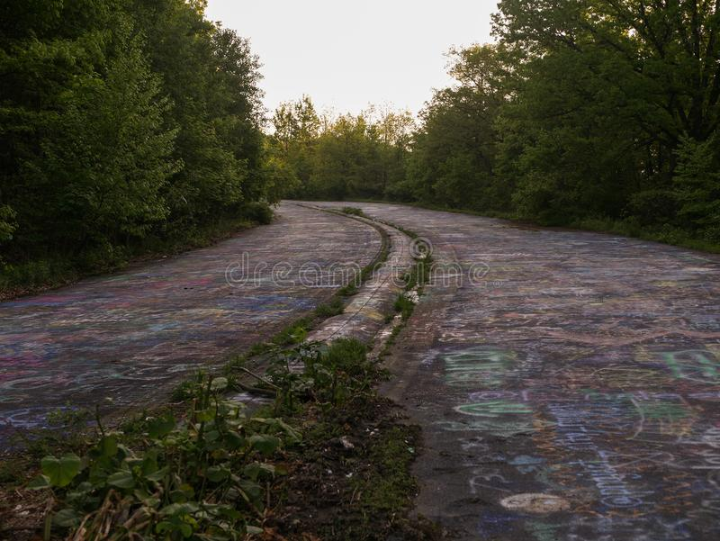 Graffiti Highway. PA-61 Abandoned section of the highway through Centralia royalty free stock photos