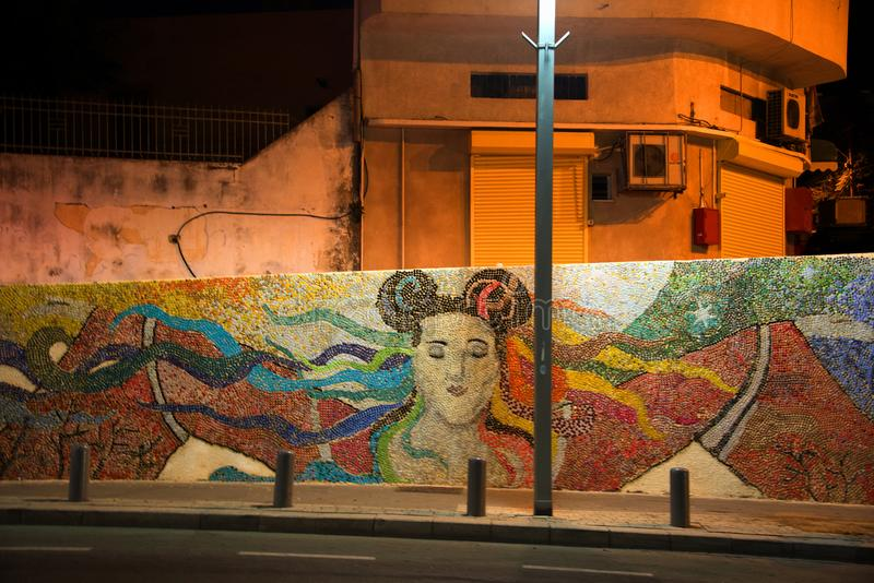 Graffiti homage to singer Netta, Jaffa, Israel. A graffiti tribute to the Israel singer Netta, whose entry `Toys` won the Eurovision 2018 for Israel on a wall in stock photography