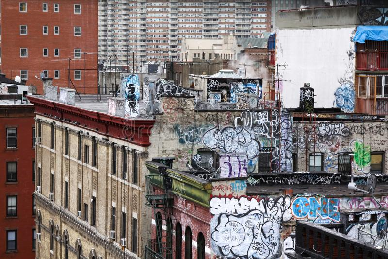 Graffiti house wall stock images