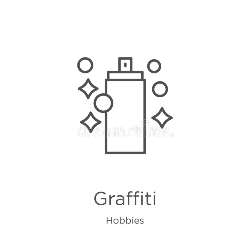 graffiti icon vector from hobbies collection. Thin line graffiti outline icon vector illustration. Outline, thin line graffiti royalty free illustration