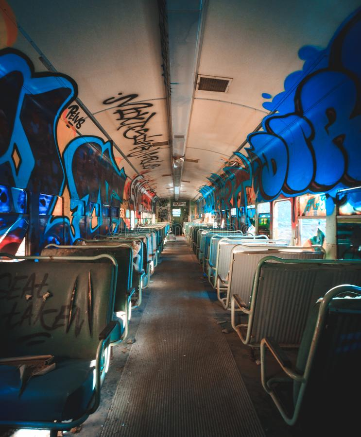 Free Graffiti Inside Abandoned Rail Car Royalty Free Stock Photography - 131448157
