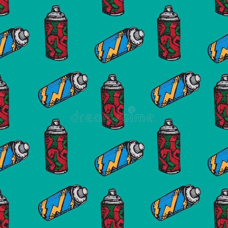 Graffiti ki?ci puszki wektorowego doodle bezszwowy wz?r Aerosolowa farba w zbiorniku na zielonym tle Ręka rysująca ilustracja dla ilustracja wektor