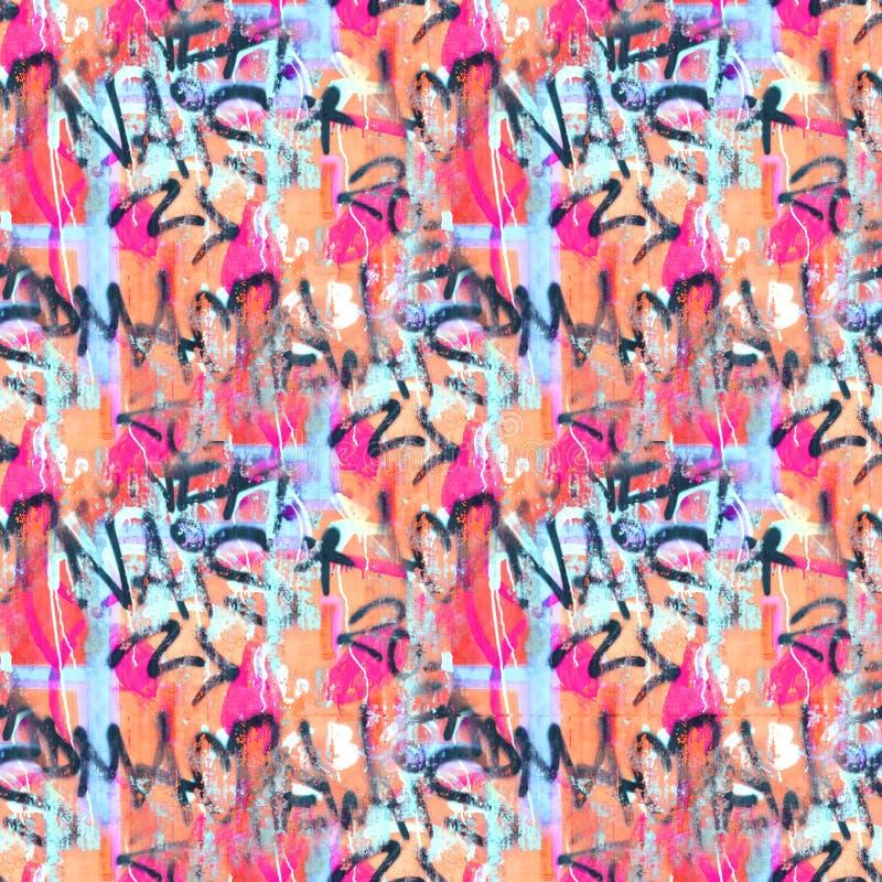 Graffiti kleurrijk naadloos patroon als achtergrond Van de stijlkrabbels van de graffitihand de illustratie van de de straatkunst royalty-vrije illustratie