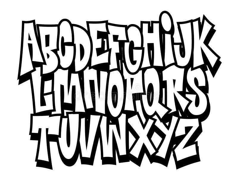 Graffiti kreskówki doodle chrzcielnicy komiczny abecadło wektor ilustracja wektor