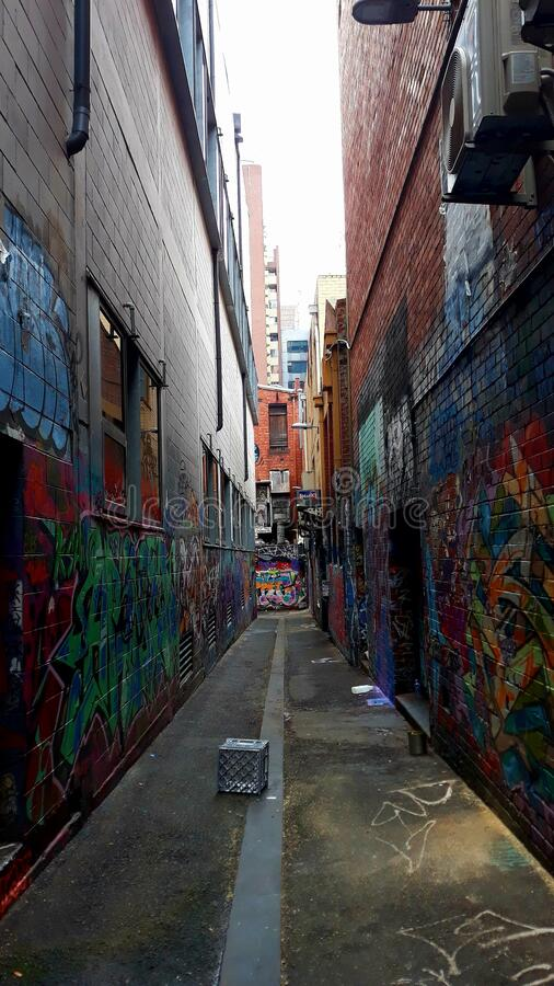 Graffiti laneway street art city royalty free stock image