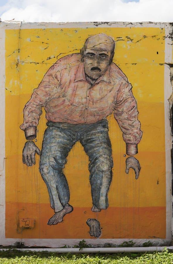Graffiti mężczyzna z cięcie stopą i rękami obrazy royalty free