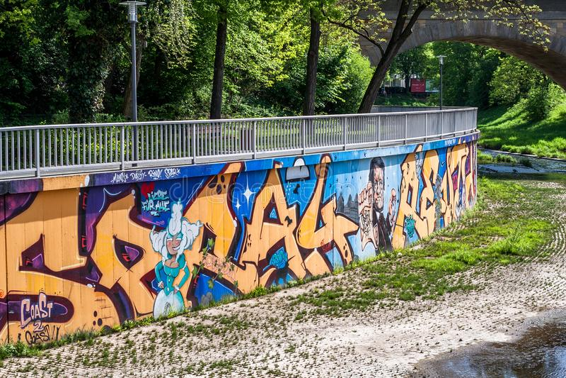 Graffiti Margravine Wilhemine von Bayreuth stockbild
