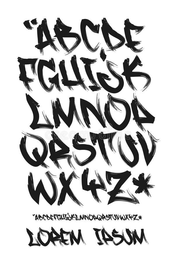 Graffiti marker font - Hand written - Vector alphabet stock illustration