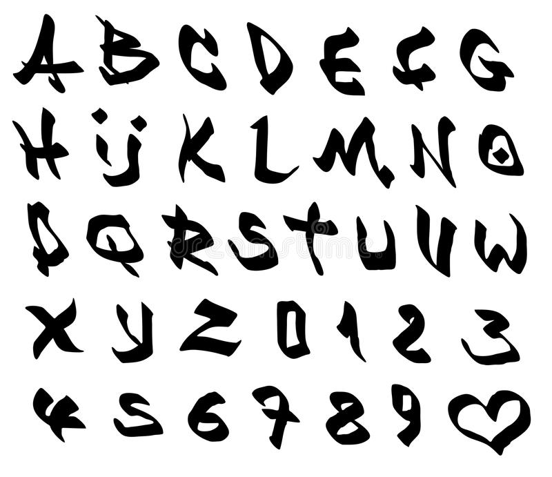 Download Graffiti Marker Font And Number Alphabet Over White Stock Vector