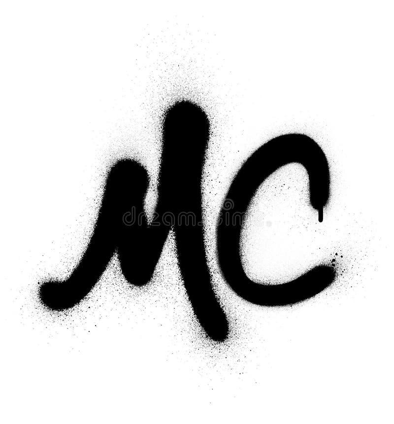 Graffiti MC master of ceremonies abbreviation in black over white. Graffiti MC master of ceremonies abbreviation in black on white royalty free illustration