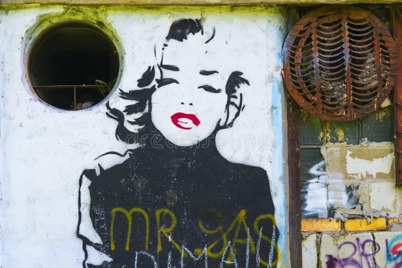 Graffiti met het beeld van Marilyn Monroe royalty-vrije stock afbeelding