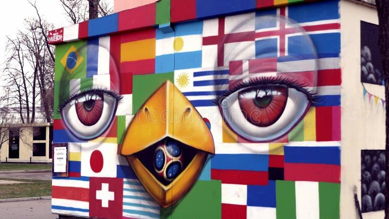 Graffiti met vlaggen en beeldverhalen stock illustratie