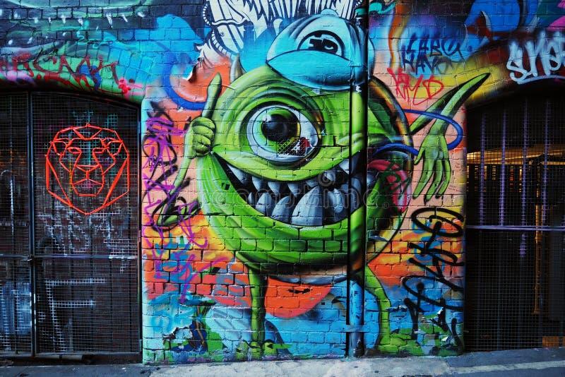 Graffiti - Monster Inc Mike Wazowski stock foto's