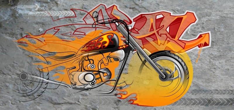 Graffiti Of A Motorcycle royalty free illustration