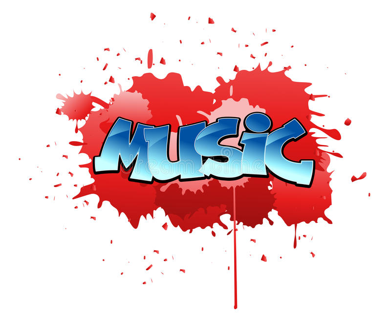 Graffiti music background. Urban music graffiti design on blobs background stock illustration