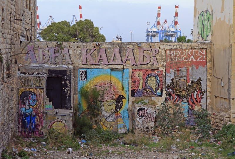 Graffiti na ścianie outdoors w Haifa, Izrael zdjęcia royalty free