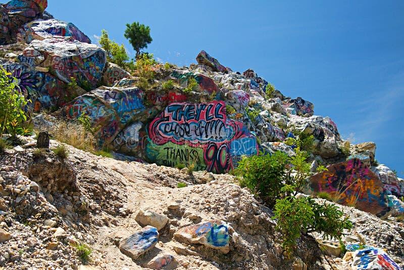 Graffiti na Dzwonkowym pasmie górskim w Stany Zjednoczone Ameryka zdjęcie royalty free