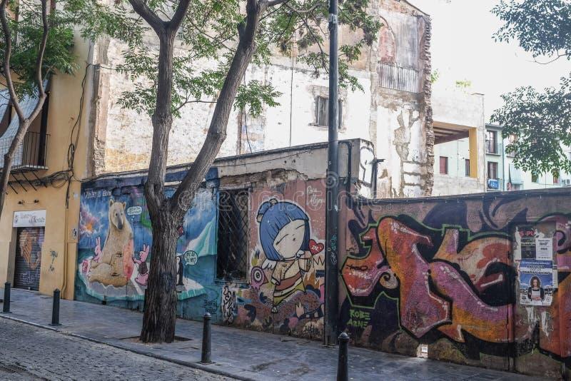 Graffiti nella vicinanza di Carmen a Valencia, Spagna fotografie stock libere da diritti