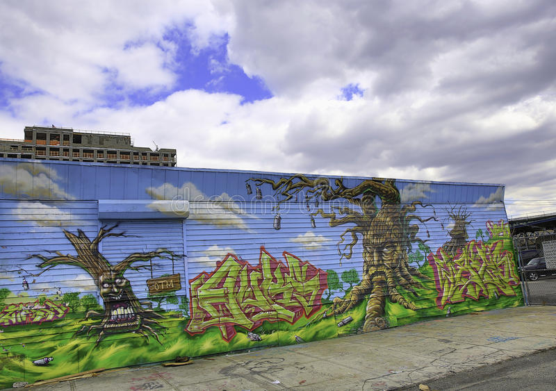 Graffiti In New York City Against A Blue Sky Editorial Photography
