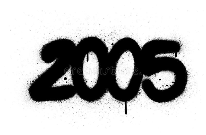 Graffiti number 2005 sprayed in black over white stock illustration