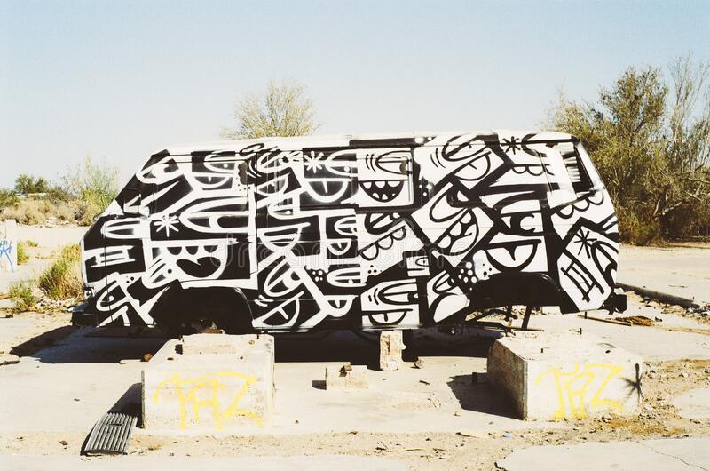 Graffiti on old van royalty free stock image