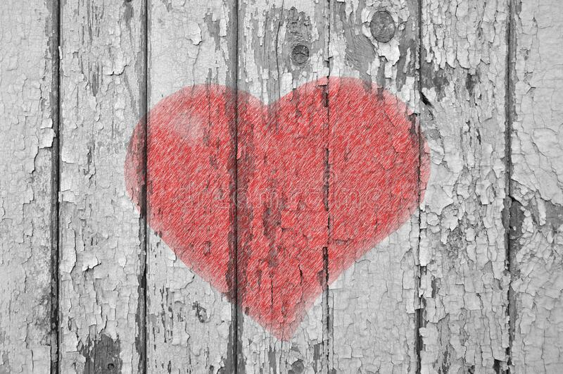 Graffiti old wooden wall, heart, valentines day royalty free stock image