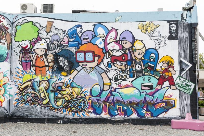 Graffiti op de muren in Centrale Christchurch royalty-vrije stock fotografie