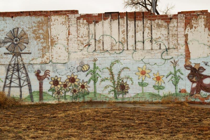 Graffiti op een bakstenen muur royalty-vrije stock foto