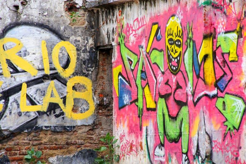 Graffiti op een muur in historisch kwart van Colonia del Sacramento stock afbeelding
