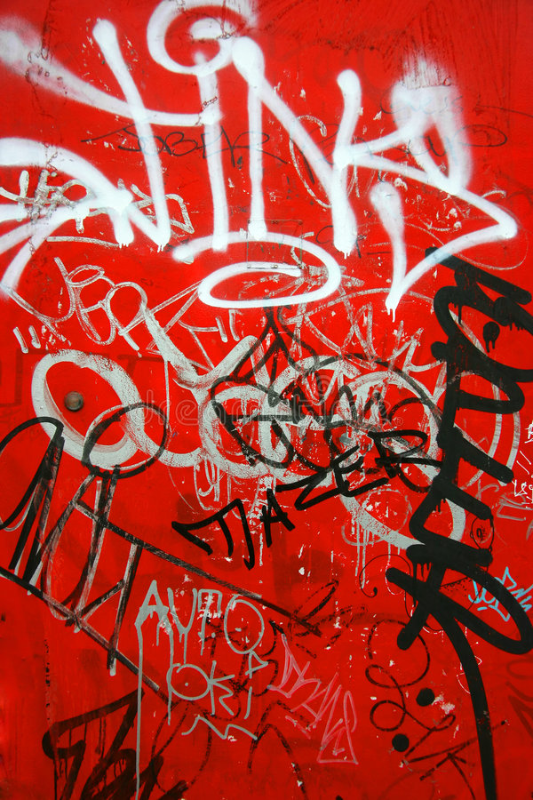 Graffiti op verticaal rood, stock fotografie