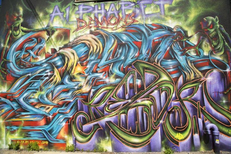 Graffiti in Ost-Williamsburg in Brooklyn stockfoto