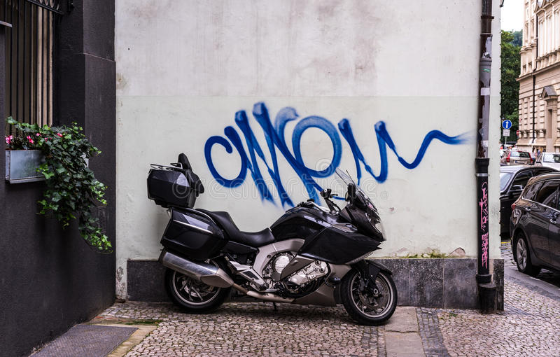 Graffiti over motorcycle royalty free stock photography