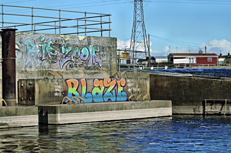 Graffiti par la rivière Trent photo libre de droits
