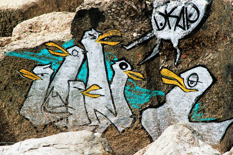 Graffiti penguins royalty free stock image