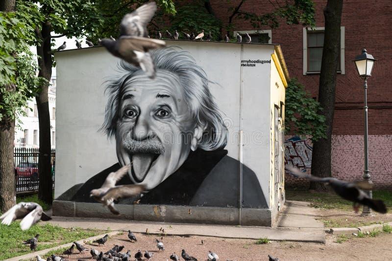 Graffiti portret Albert Einstein obraz royalty free