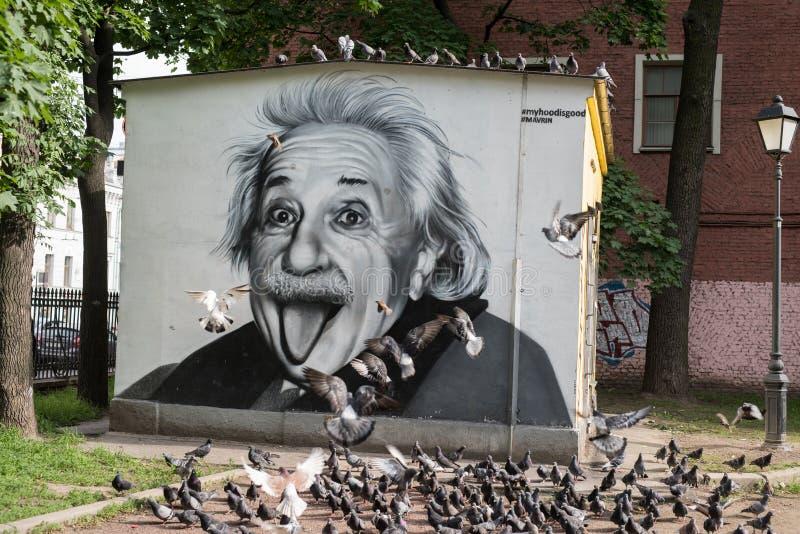 Graffiti portret Albert Einstein zdjęcia royalty free