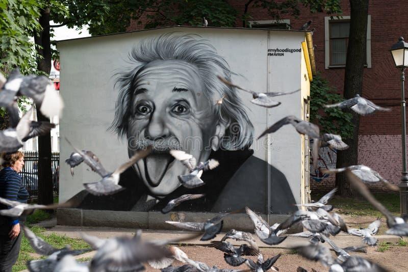 Graffiti portret Albert Einstein obrazy royalty free